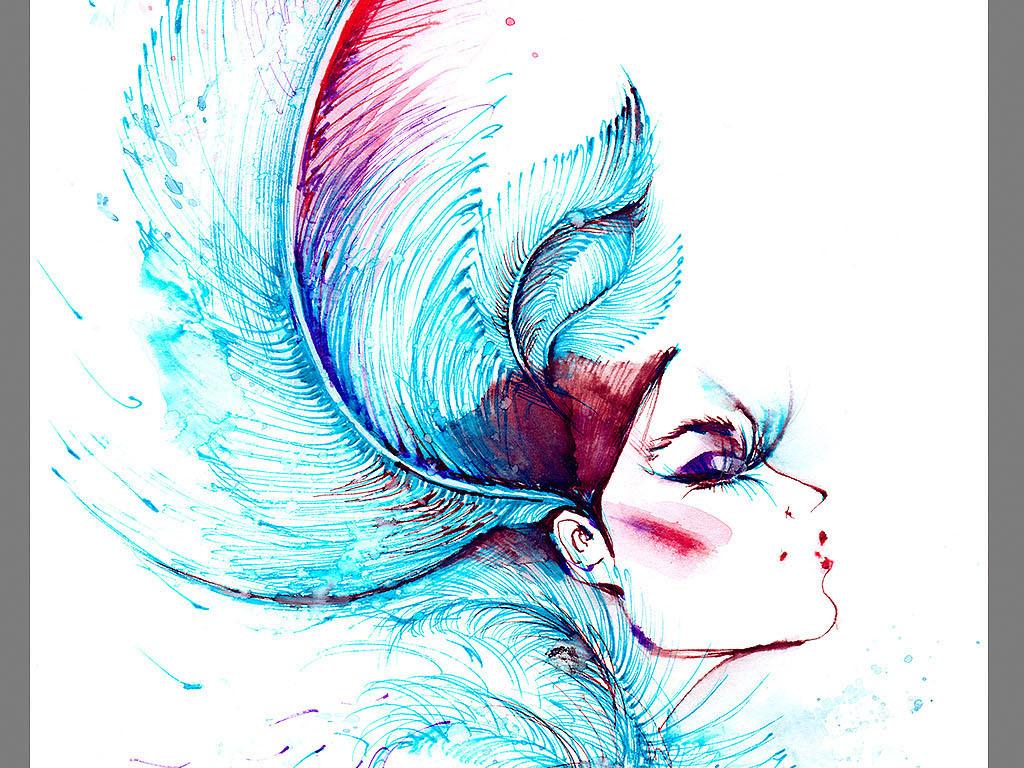 水墨时装画女装手绘海报手提袋画册封面纹绣