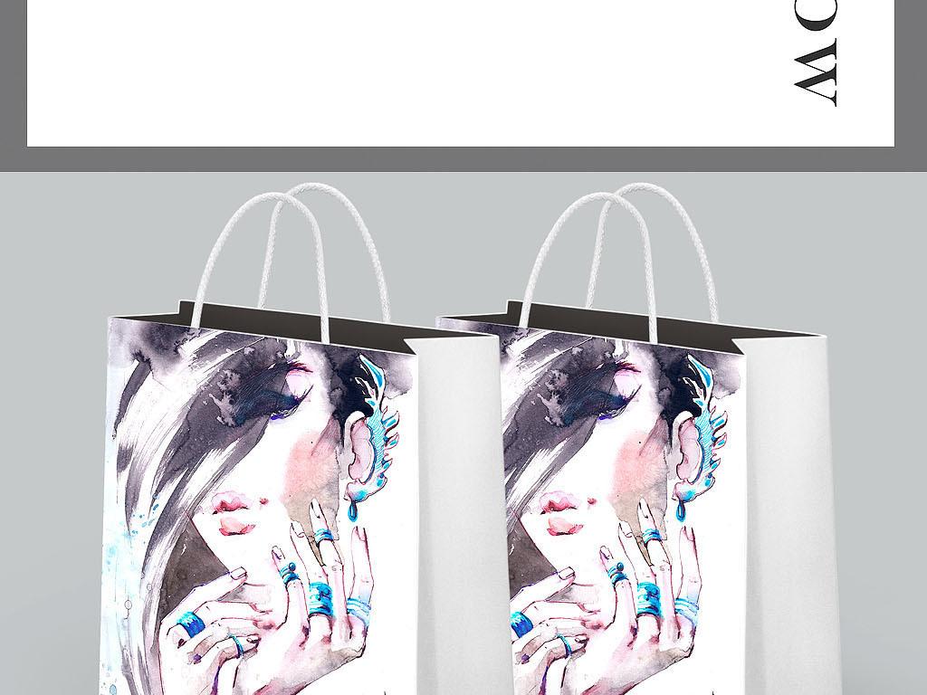 水墨时装画女装手绘海报手提袋画册封面