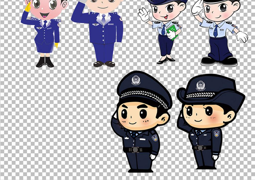 公安卡通人物_卡通警察公安人物免扣png素材