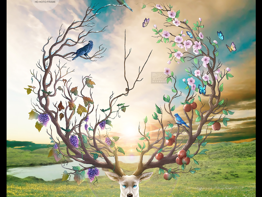 梦幻森林花海手绘母子麋鹿玄关背景墙