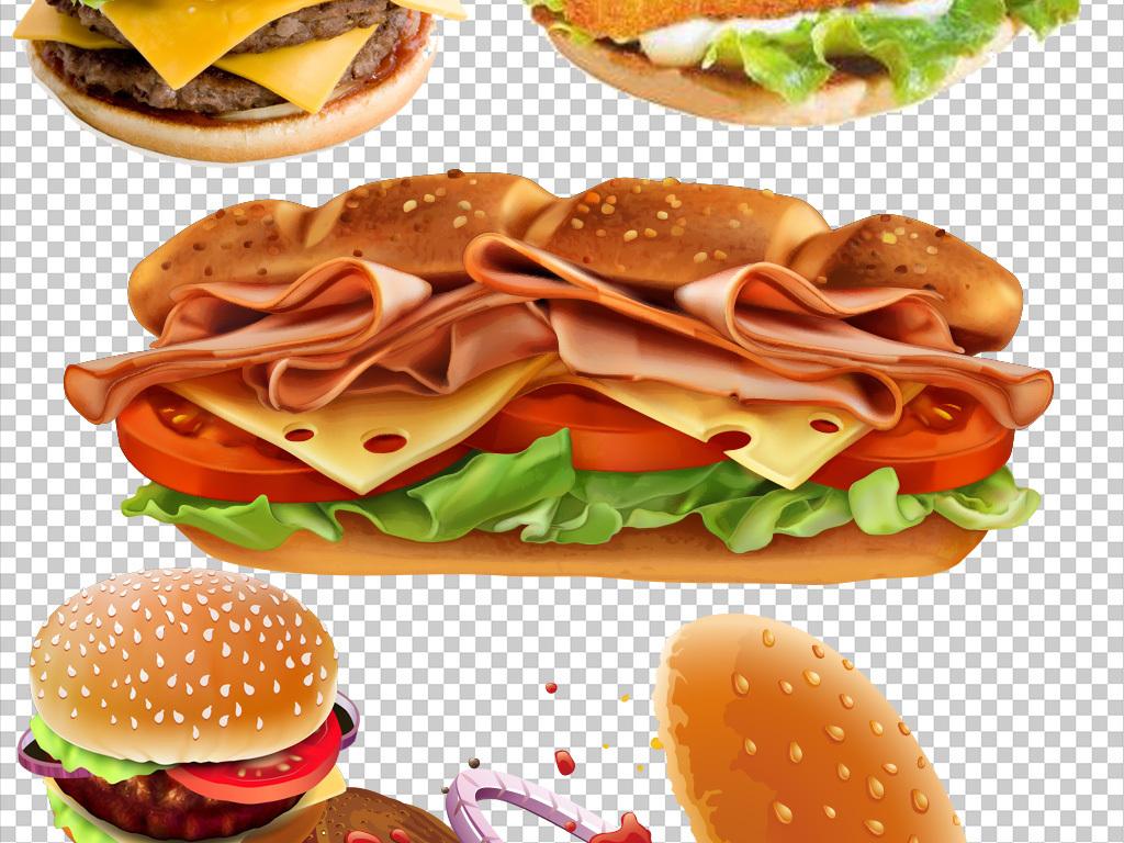 卡通手绘kfc新口味汉堡
