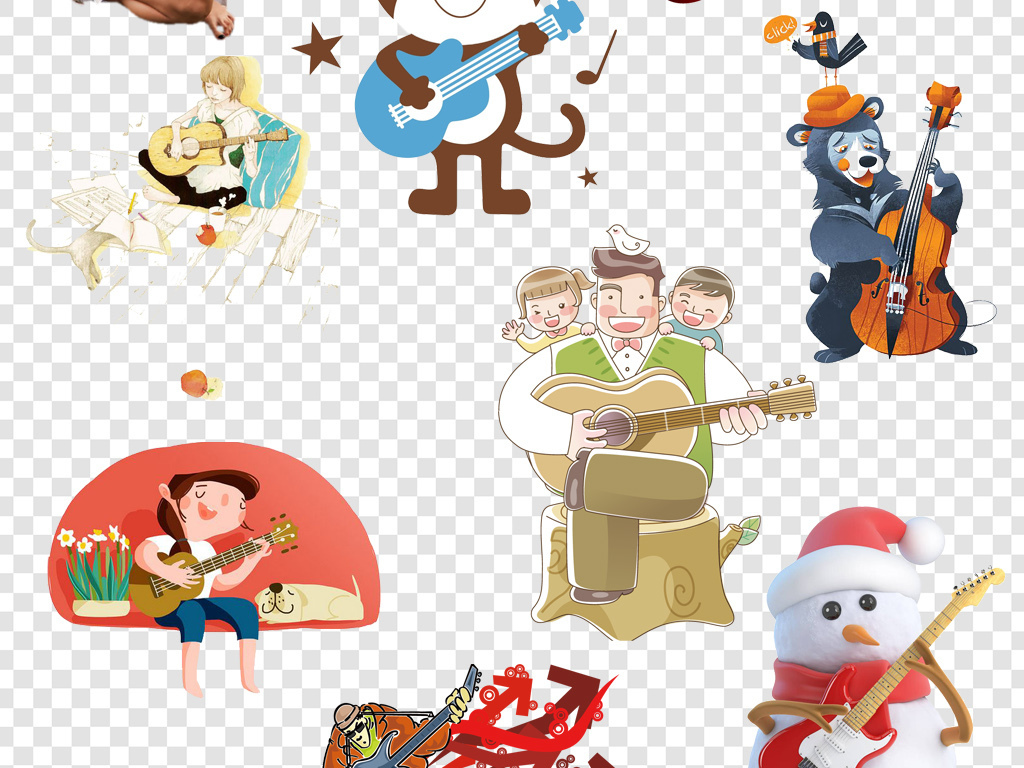 卡通手绘弹吉他人物png海报素材