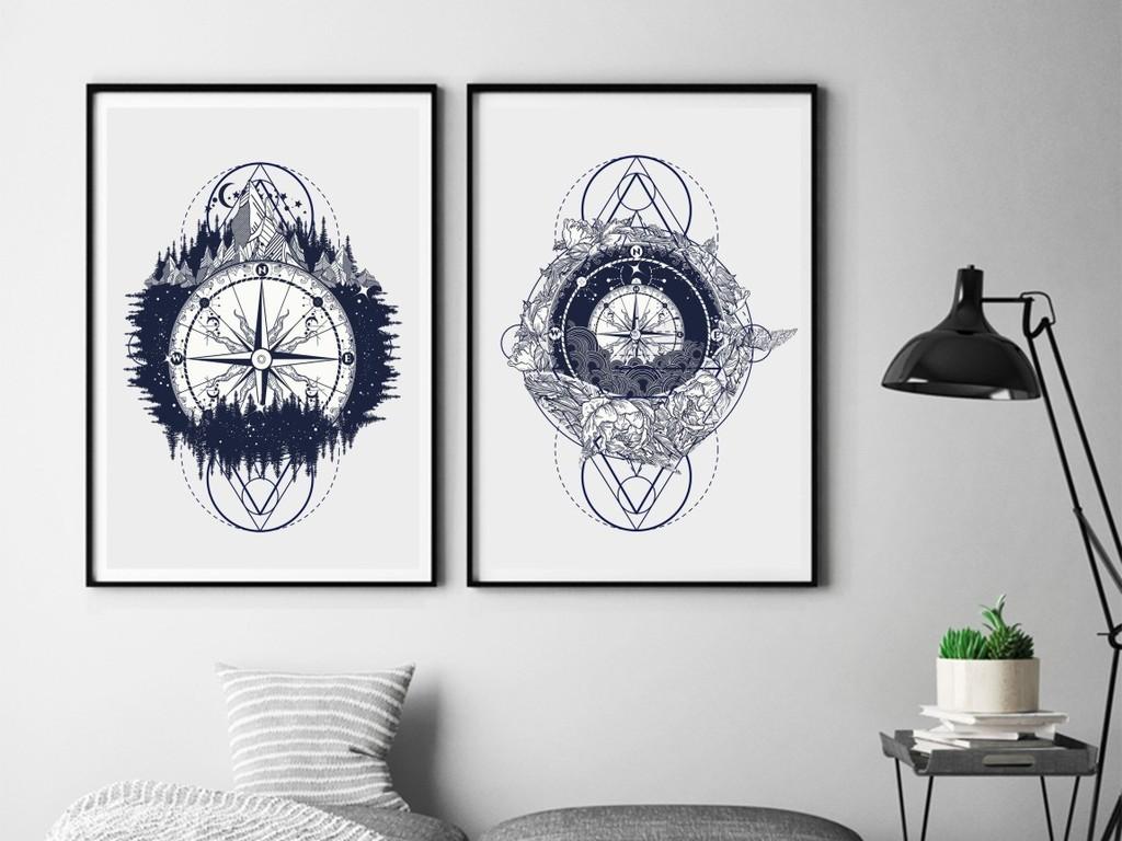 几何图形宇宙墙画抽象手绘装饰画