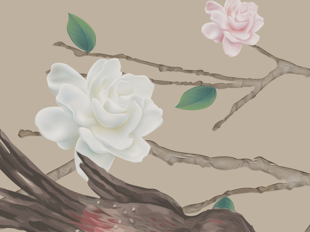 > 新中式简约大气小清新手绘牡丹花工笔画花鸟宫廷背景墙  素材图片
