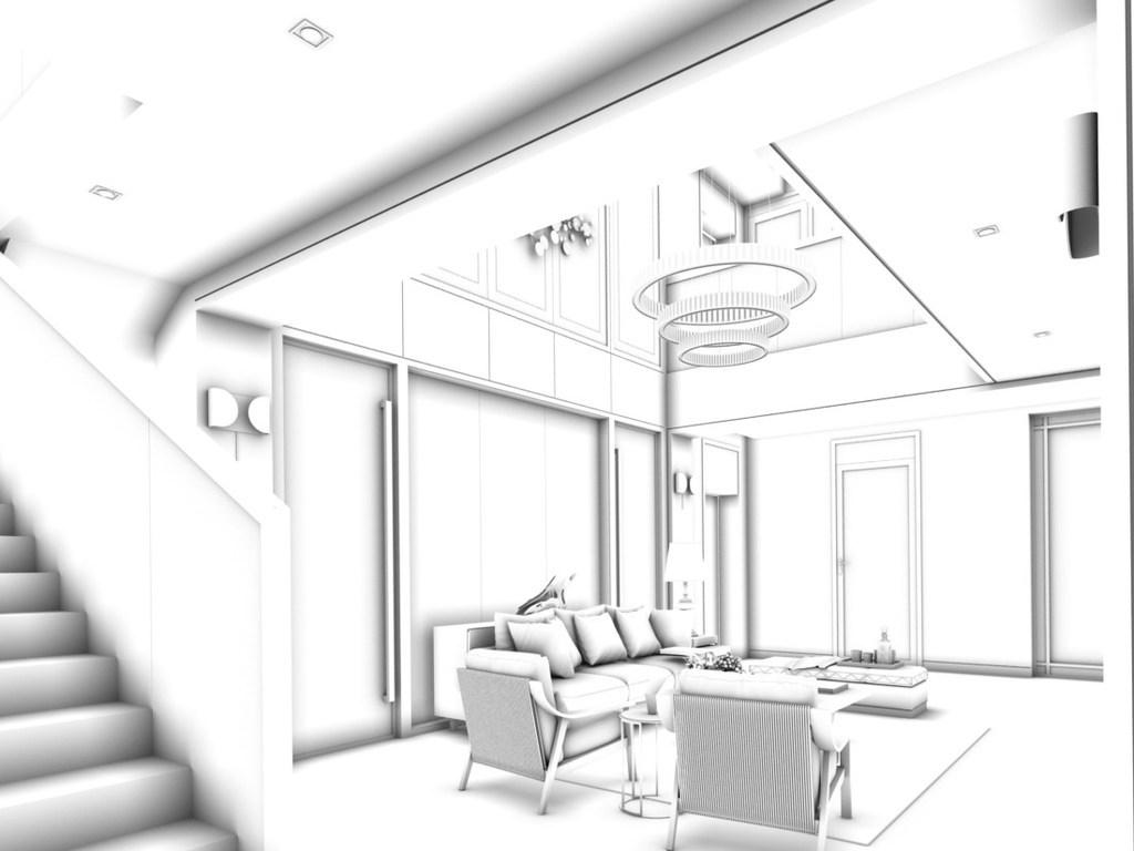 客厅线稿简笔画
