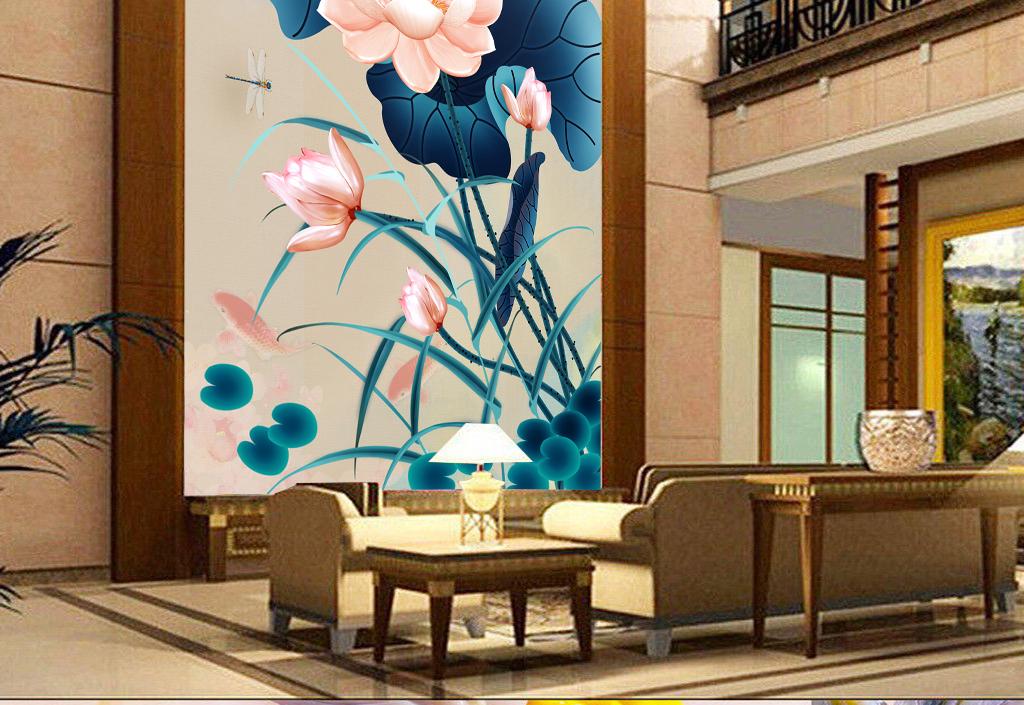 新中式手绘创意荷花玄关背景墙装饰画