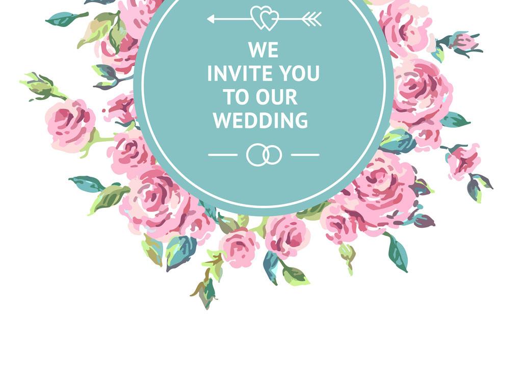 手绘玫瑰牡丹花朵植物婚庆婚礼logo装饰背景展板矢量图设计素材