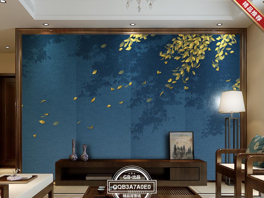 新中式禅意树叶飘落客厅挂画背景墙壁画墙贴图片