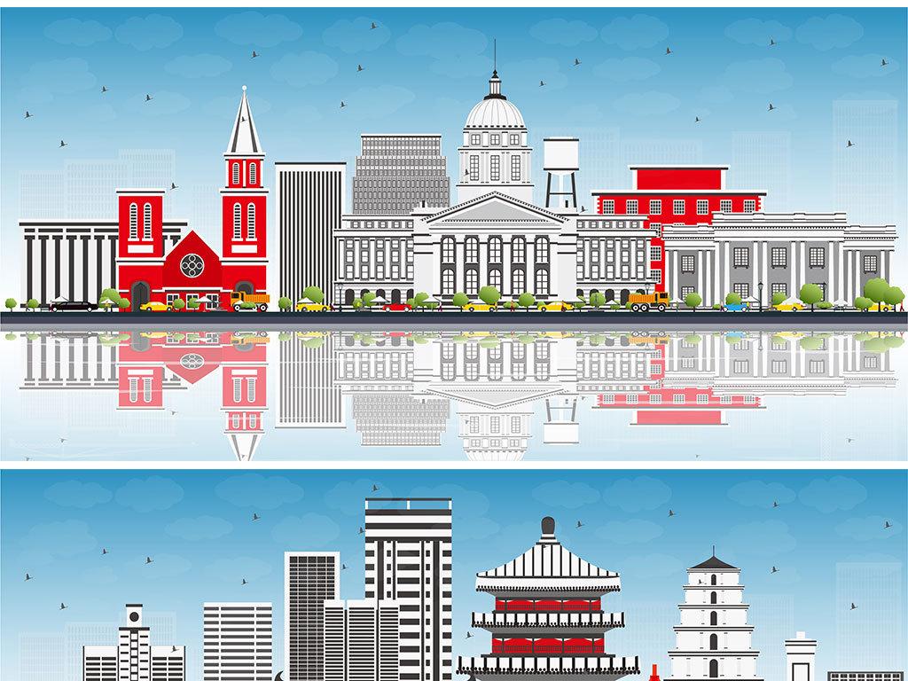 矢量手绘城市简笔画背景图