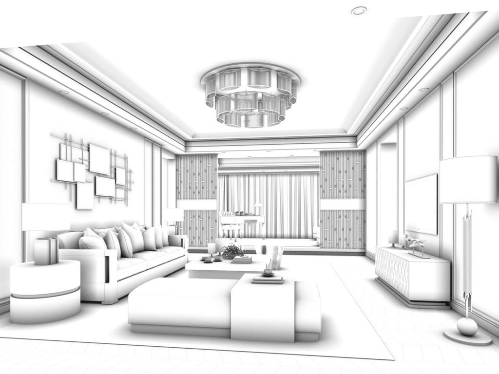 max)时尚简洁豪华现代中式欧式客厅餐厅卧室厨房厕所卫浴走廊儿童房