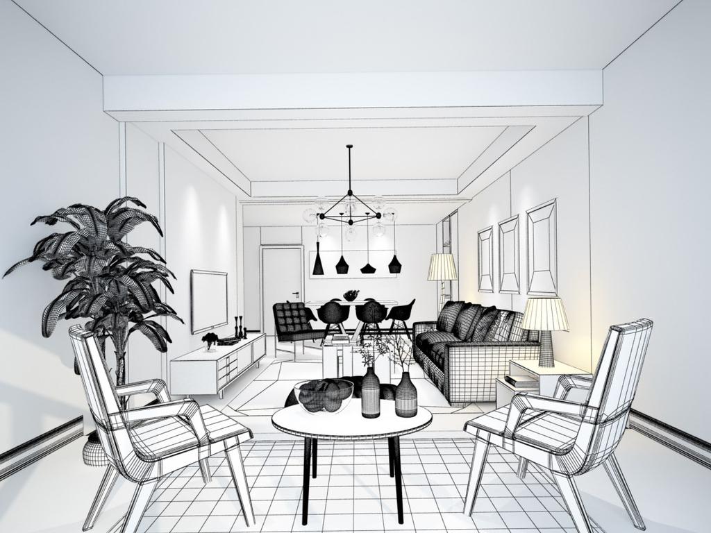 新中式客厅手绘线稿