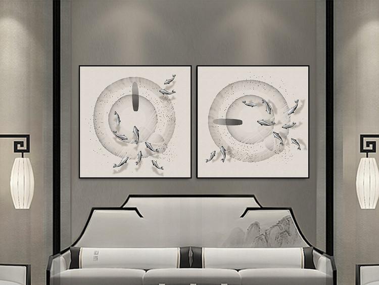 新中式抽象水墨九鱼装饰画正方形无框画
