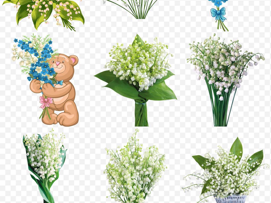 手绘唯美玫瑰菊白色铃兰花png素材图片下载png素材 其他