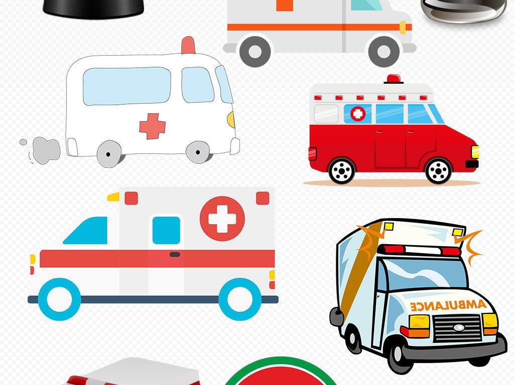 医院120卡通救护车设计png元素