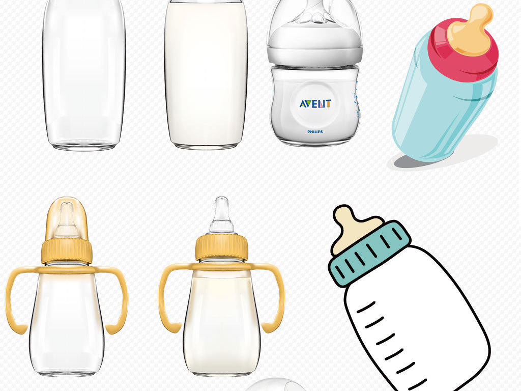卡通牛奶盒子牛奶瓶免扣背景图片
