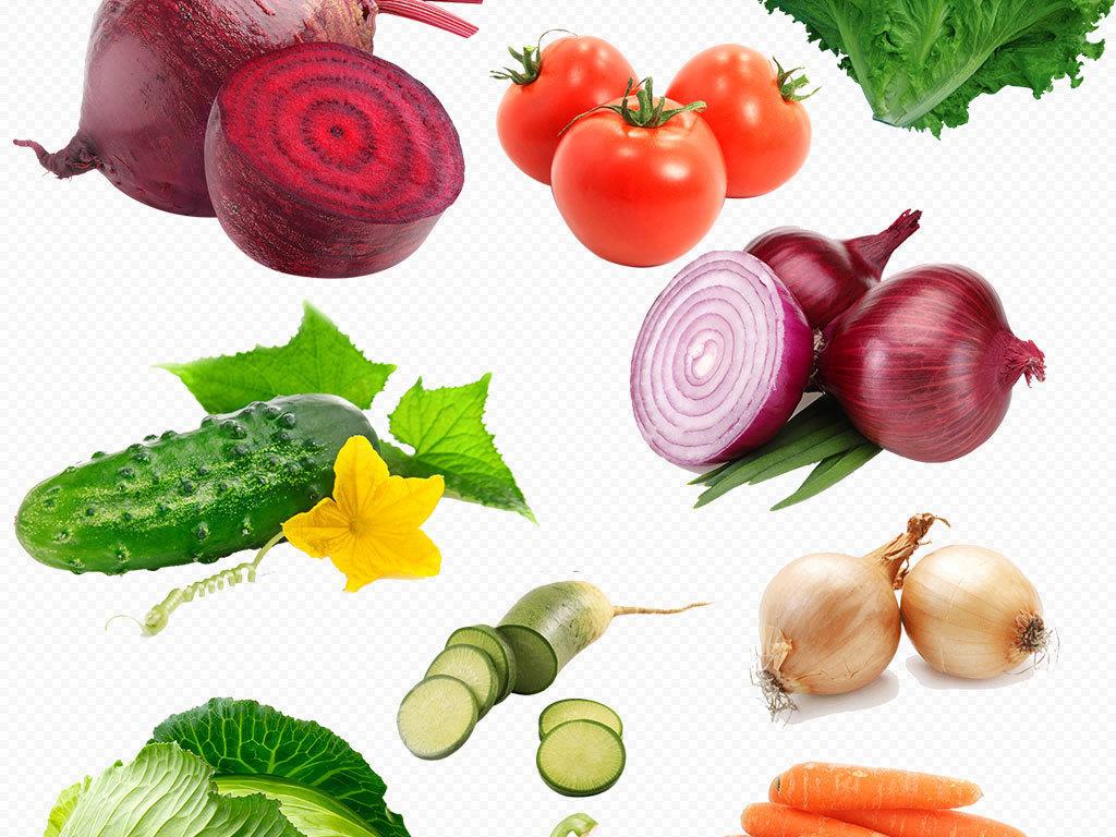 精品高清果蔬手绘水果篮蔬菜水果背景png