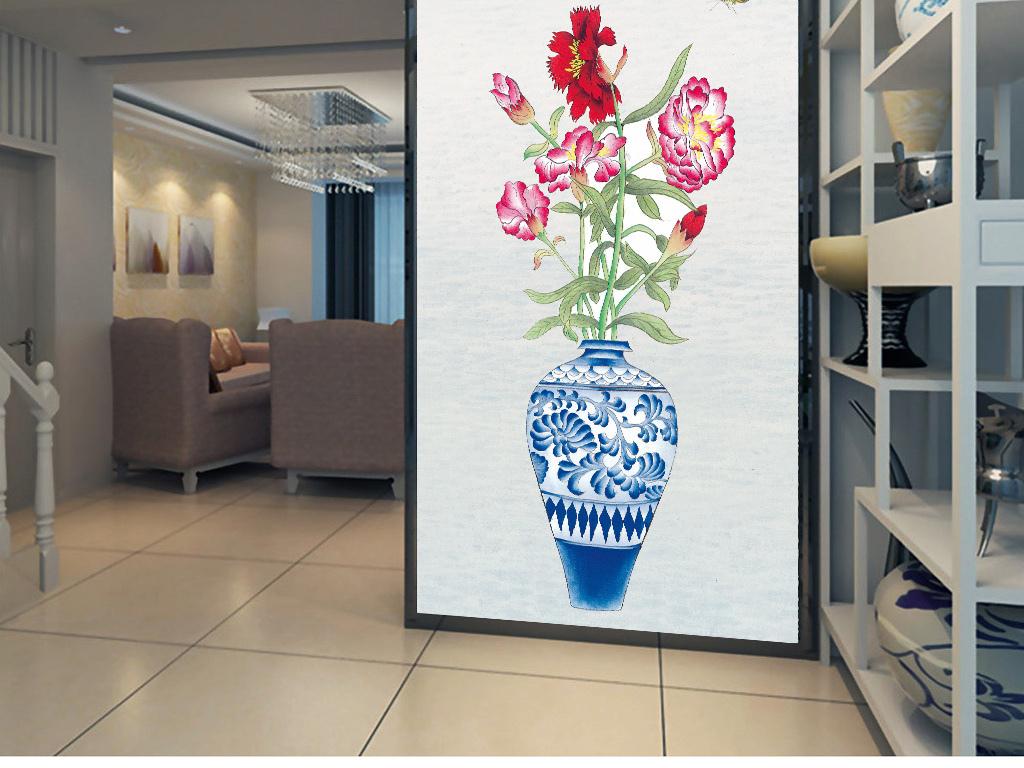 青花瓷清新手绘新中式玄关背景装饰画图片