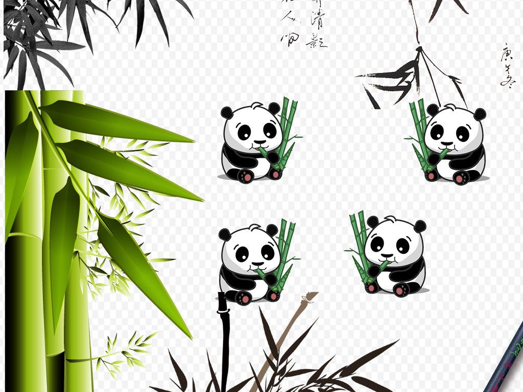 竹叶                                  中国风竹子熊猫