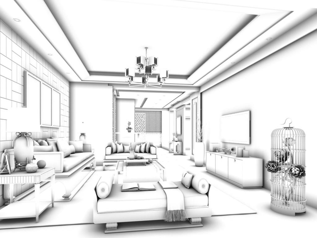 max)时尚简洁豪华现代中式欧式客厅餐厅卧室厨房厕所卫浴走廊儿童房客