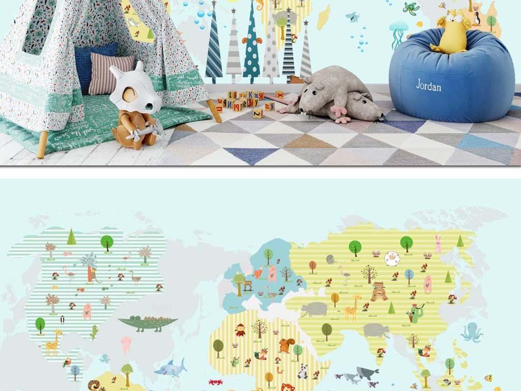 电视背景墙 儿童房背景墙 > 手绘卡通动物地图儿童房幼儿园乐园壁纸