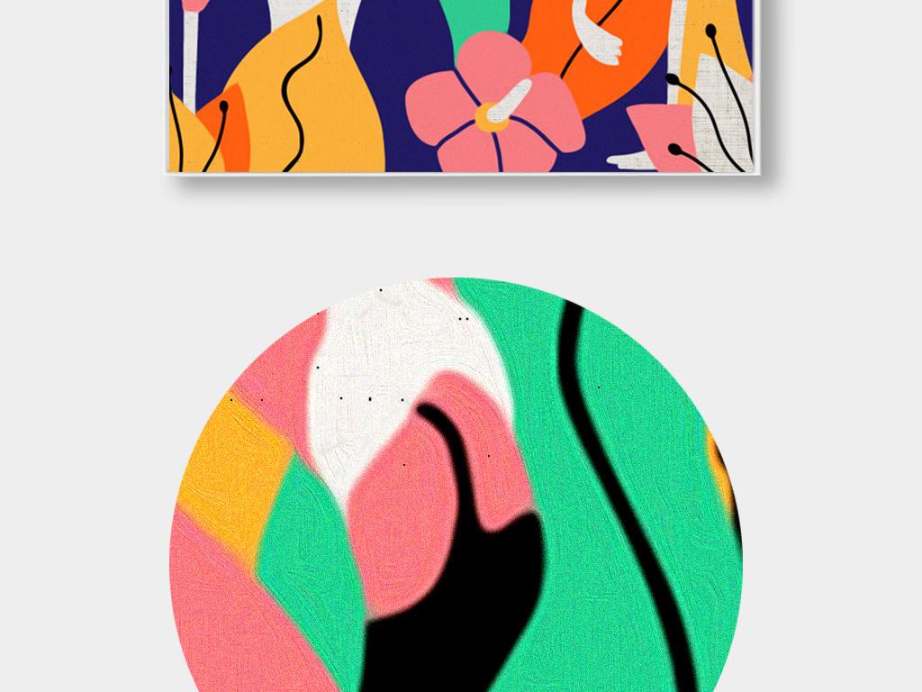 装饰画 北欧装饰画 动物装饰画 > 北欧手绘小清新装饰画火烈鸟简约无