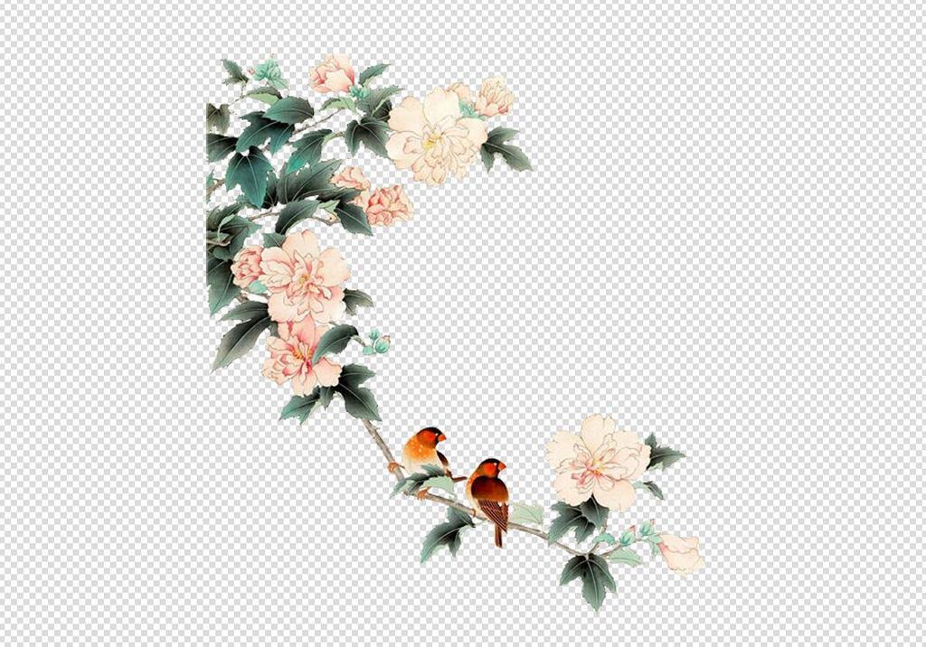 唯美免扣手绘花朵叶子树叶背景墙素材.