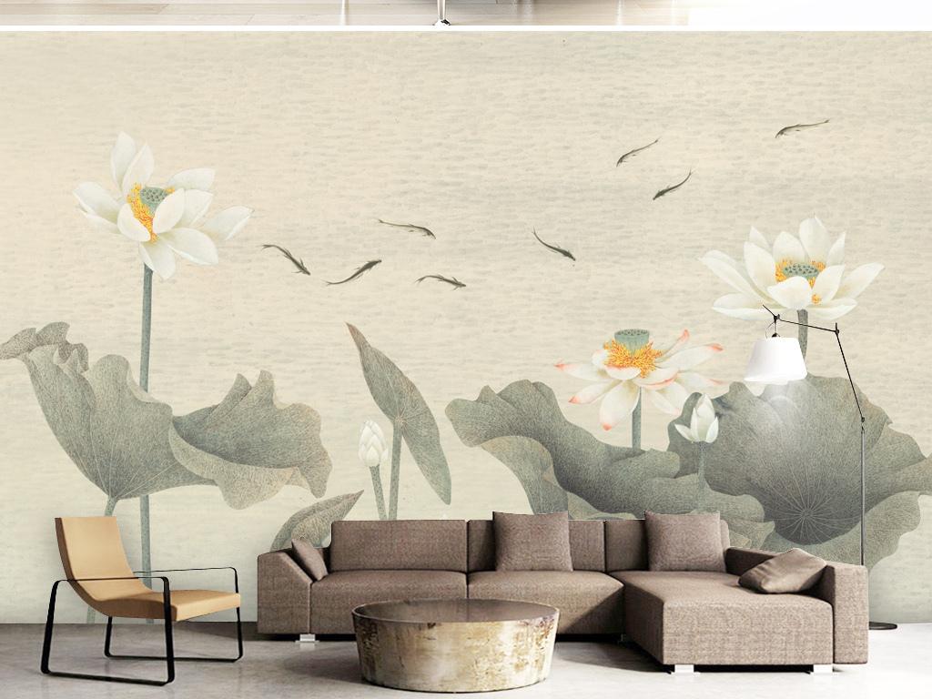 新中式手绘荷花意境禅意沙发背景墙