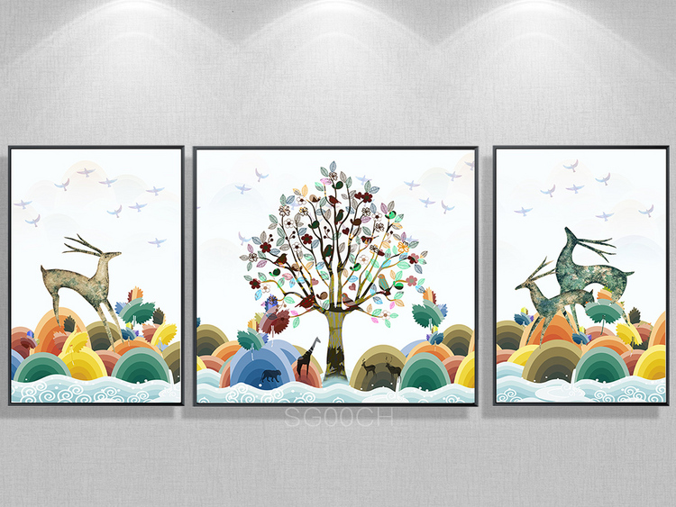 北欧现代抽象山水森林发财鹿装饰画三联