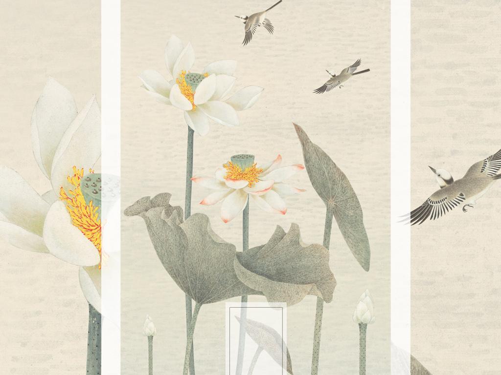 新中式手绘荷花禅意莲花玄关背景墙图片设计素材_高清