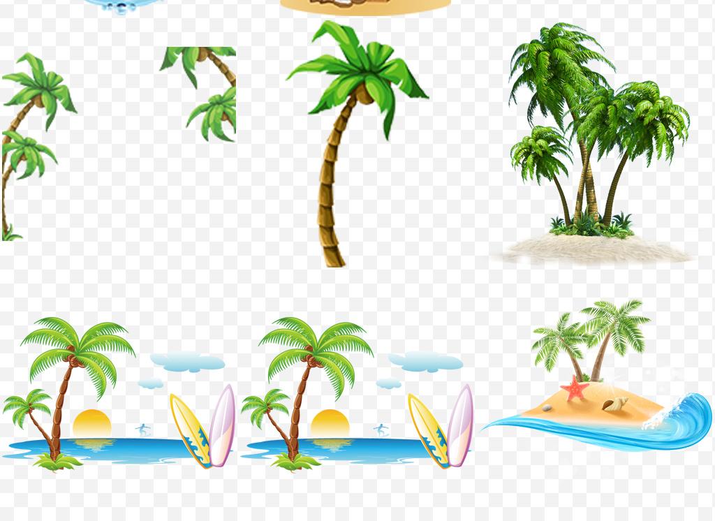 小岛素材沙滩手绘卡通椰树沙滩椰树卡通手绘卡通素材卡通沙滩手绘椰树