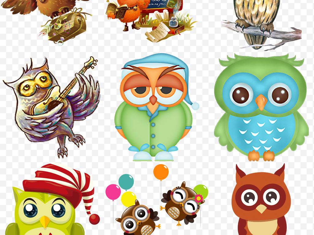 手绘可爱卡通猫头鹰教育主题2000 像素