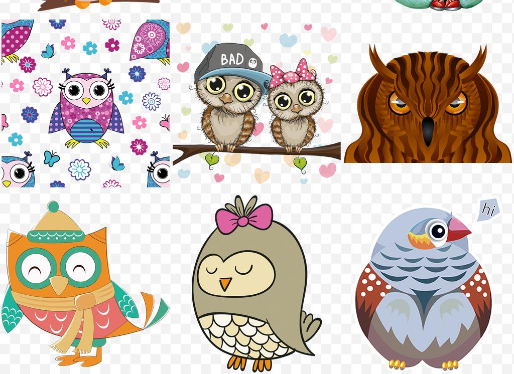 手绘可爱卡通猫头鹰教育主题2000 像素图片