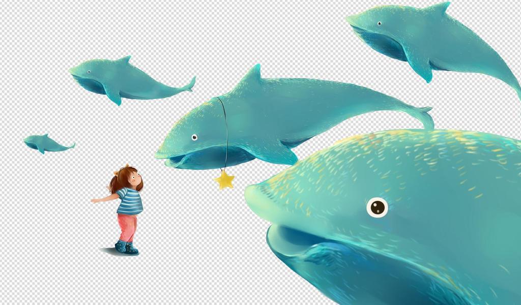 卡通手绘插画鲸鱼和小女孩免扣png素材