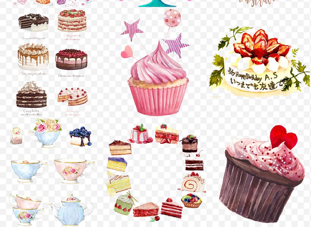 手绘卡通水彩生日蛋糕庆祝活动png素材
