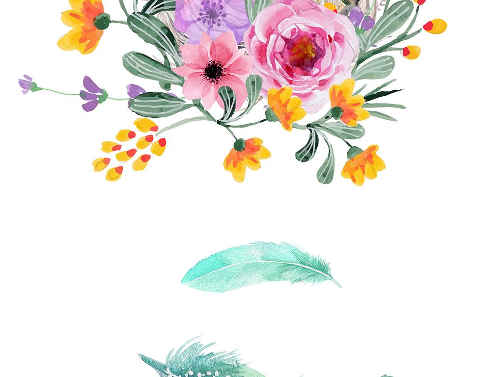 北欧简约手绘水彩花卉小鸟羽毛三联画装饰画