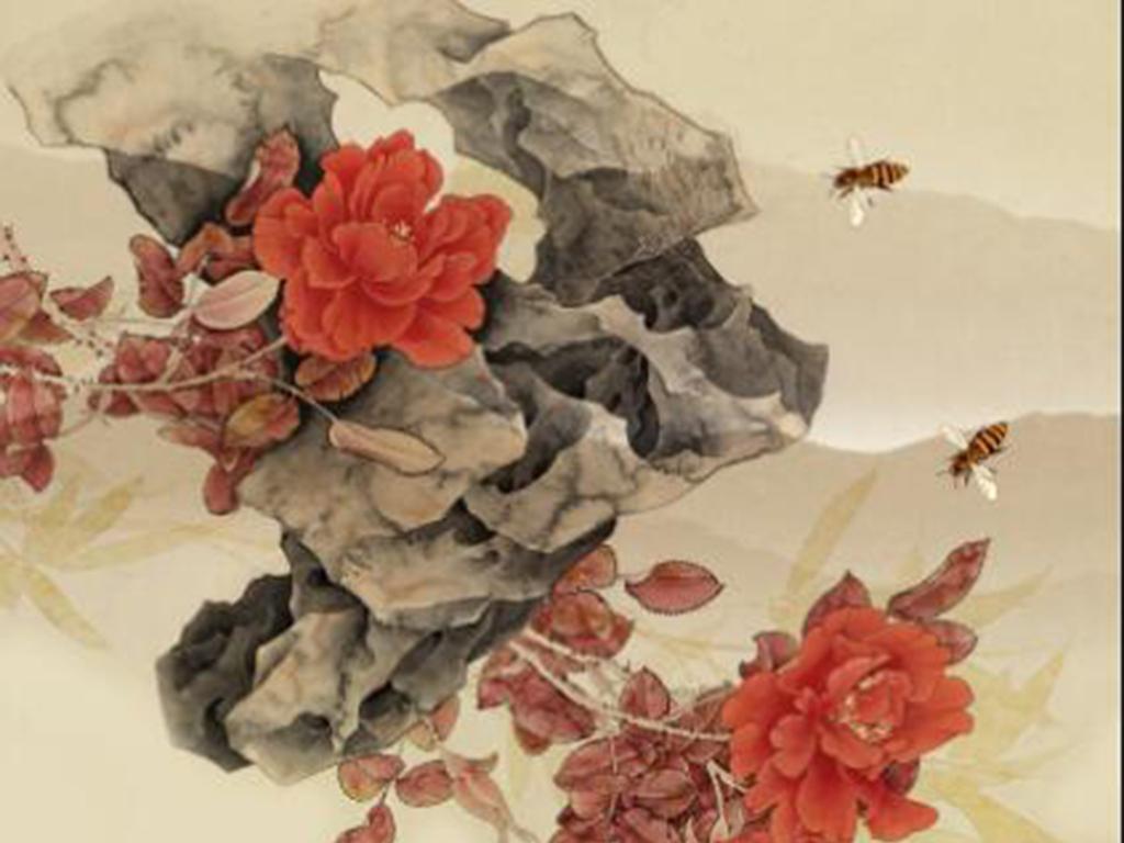 新中式彩雕工笔牡丹花卉玄关背景墙图片