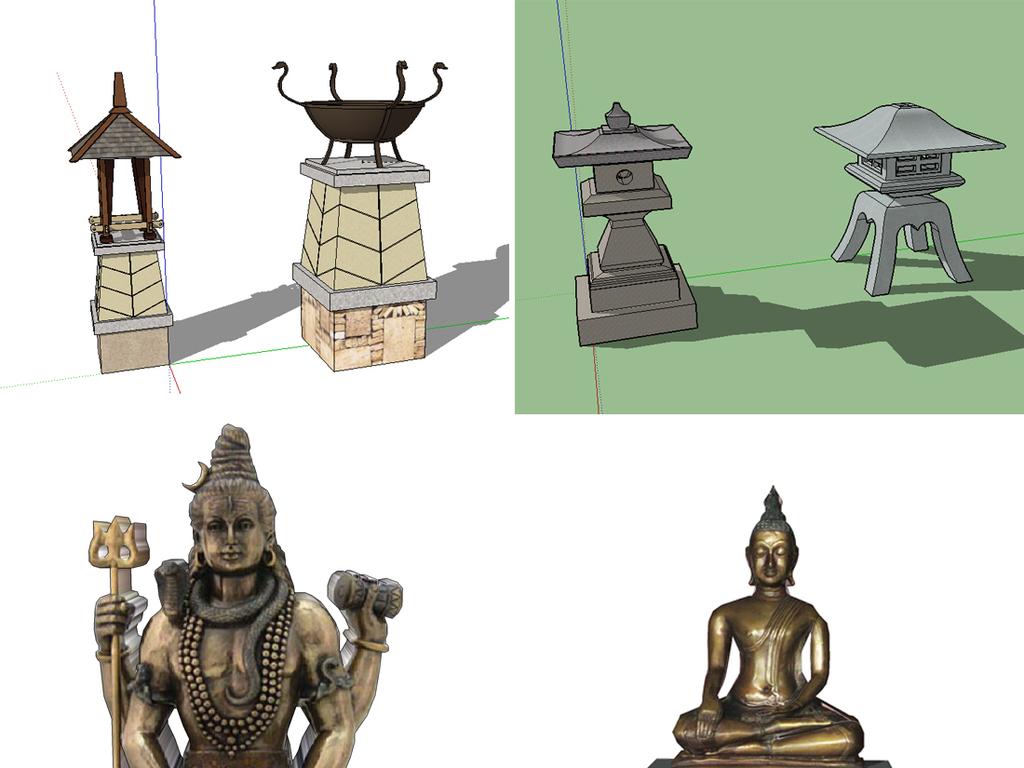 东南亚泰式景观雕塑小品su模型