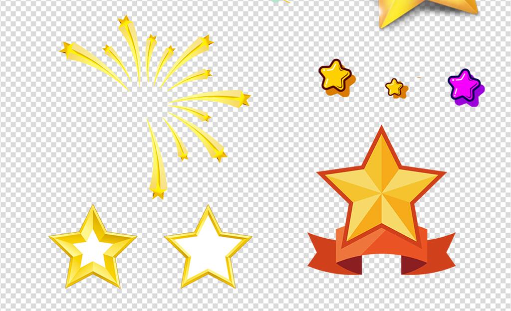 卡通手绘立体星星五角星素材