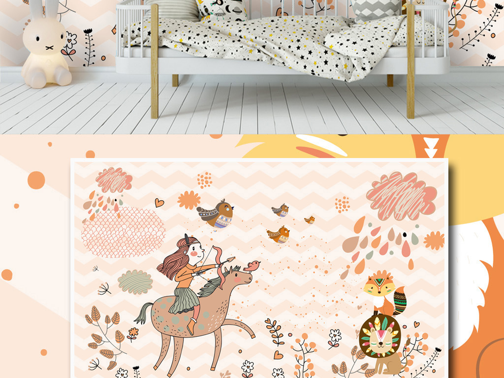 北欧简约现代手绘卡通小马植物狮子背景墙
