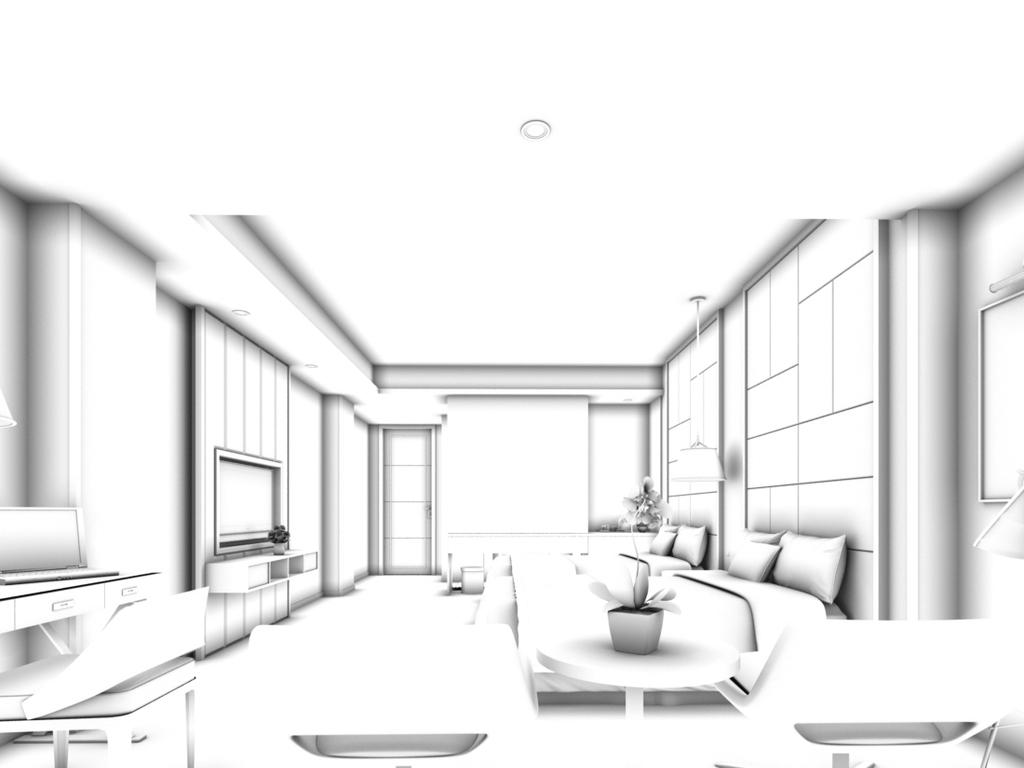 餐厅手绘线稿卧室
