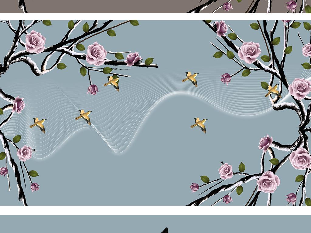 新中式简约手绘玫瑰花工笔画花鸟北小清新欧背景墙
