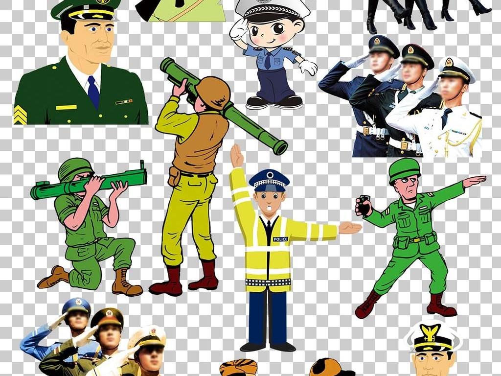 各种军人卡通人物png素材