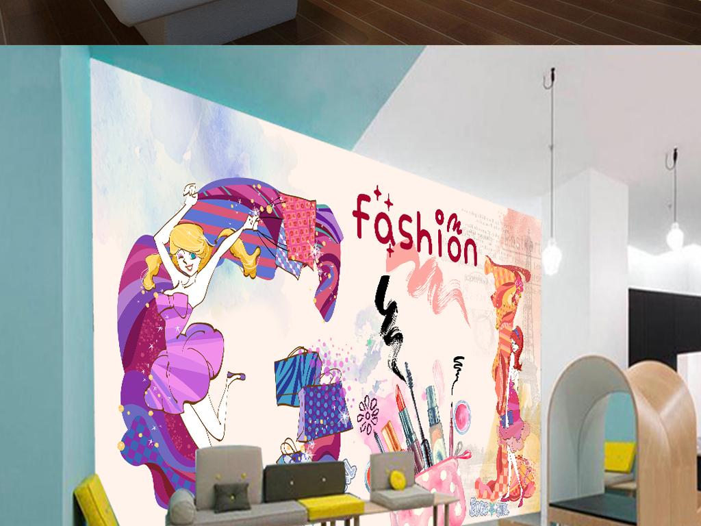 欧美时尚手绘化妆品美甲店彩妆店背景墙