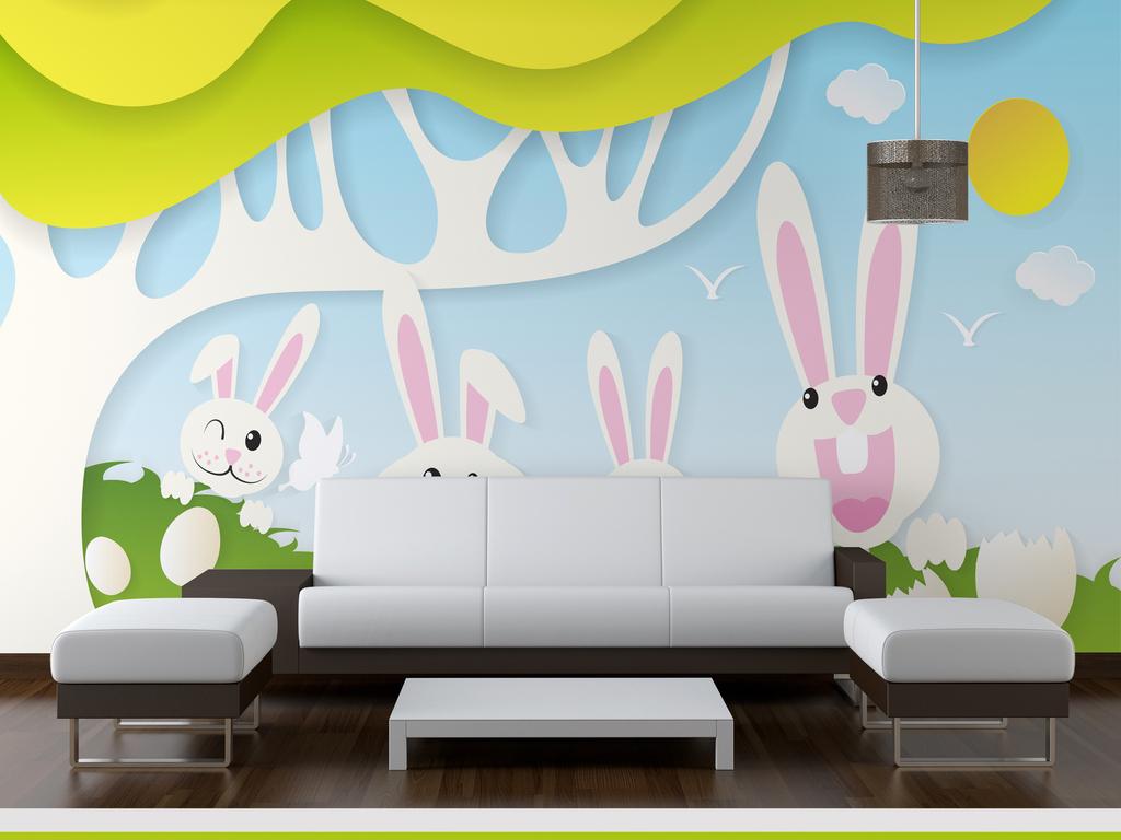 卡通森系萌兔子儿童房背景墙