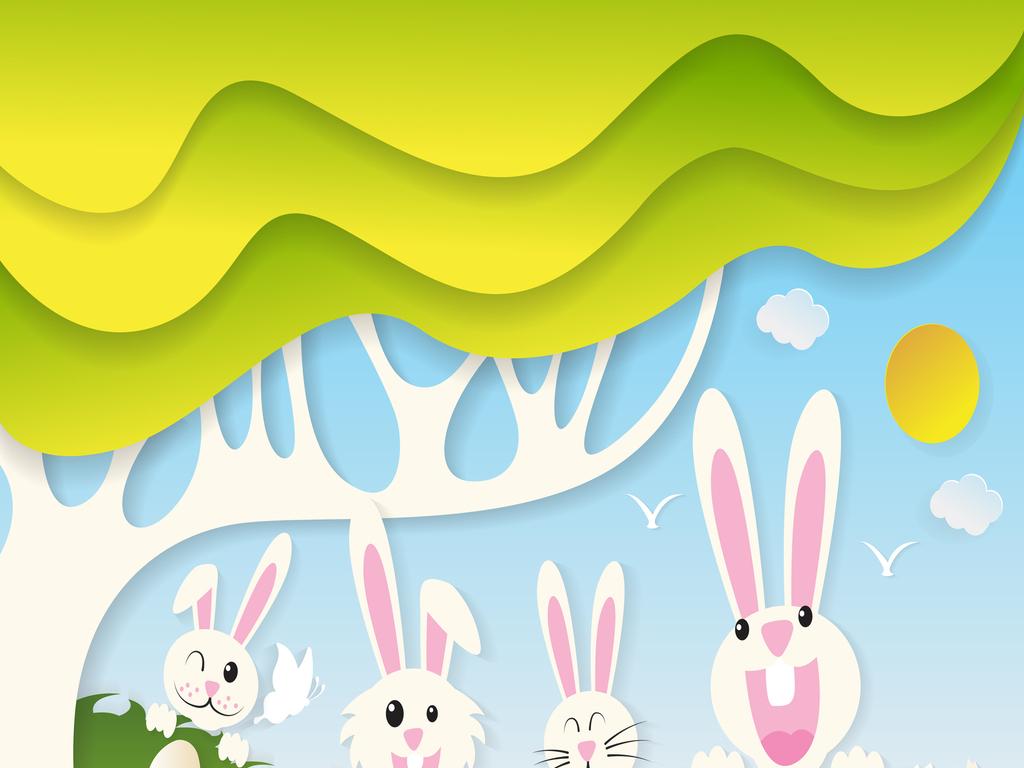 免扣元素 花纹边框 卡通手绘边框 > 卡通森系萌兔子儿童房背景墙