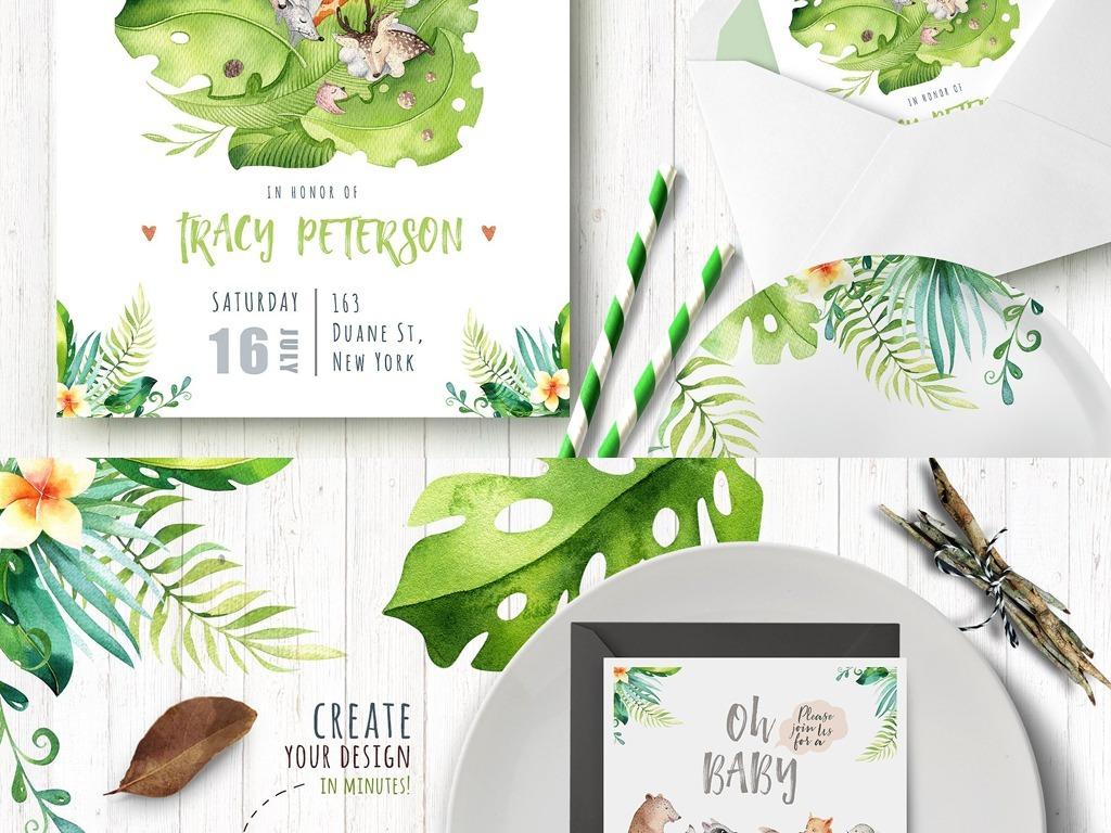 热带邀请函设计贺卡卡片电商海报包装请柬婚庆手绘人物手绘背景手绘墙
