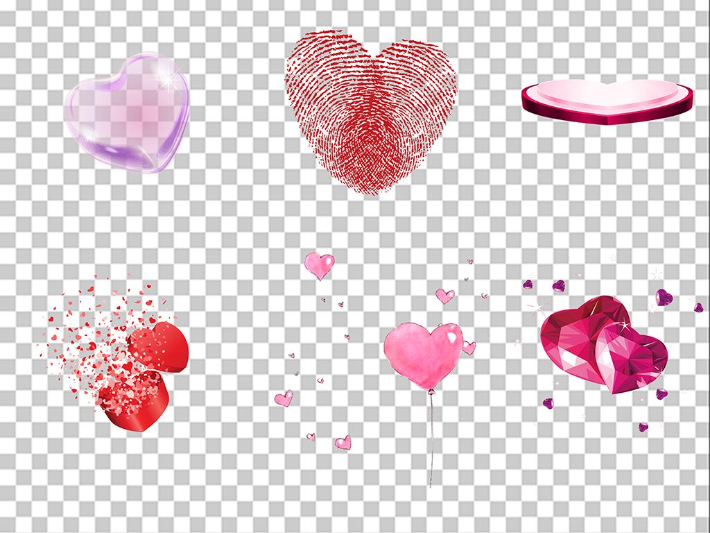 爱心素材手绘彩色气球扁平几何红色人物告白情人节卡通心形爱心手绘