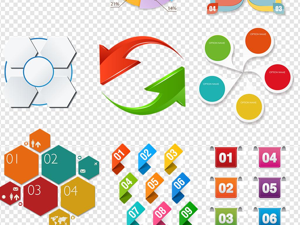ppt饼状图数字目录序列设计模版素材图片
