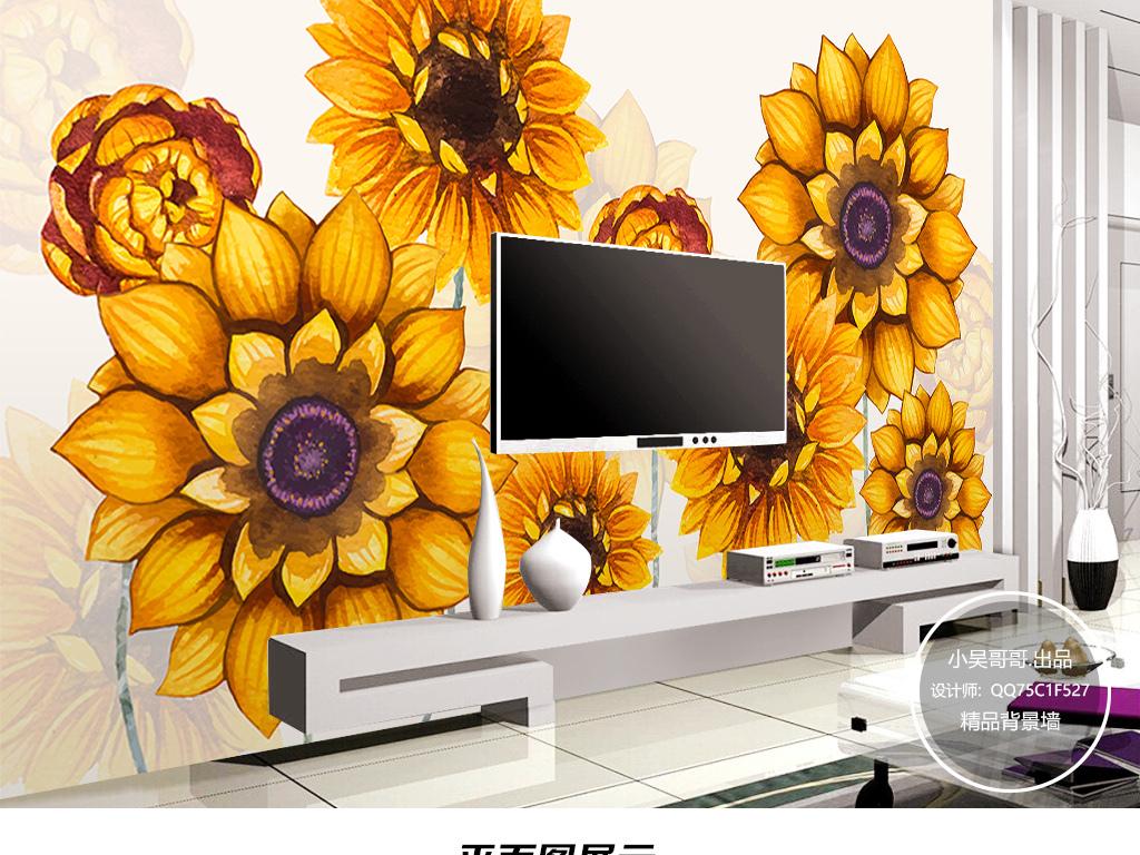 现代简约手绘向日葵电视背景墙装饰画壁纸