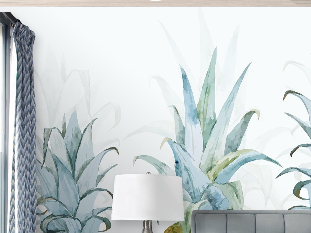北欧简约小清新手绘菠萝背景墙装饰画壁纸